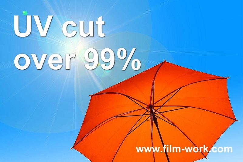 窓ガラスフィルムで紫外線を99%以上カット。