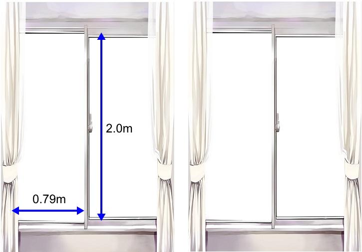 4枚のフロートガラスに飛散防止&紫外線カット透明フィルム施工