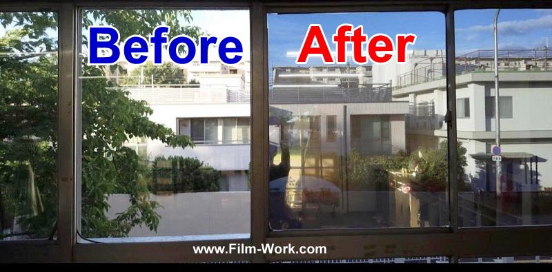 窓ガラスにグラフィル/GLAFIL RSP15ガラスフィルムを施工